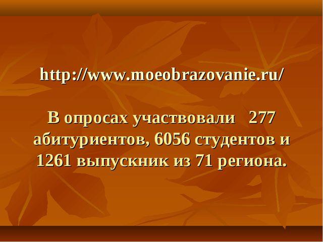 http://www.moeobrazovanie.ru/ В опросах участвовали 277 абитуриентов, 6056 с...