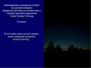 Наблюдаемое положение планет не соответствовало предвычисленному в соответств
