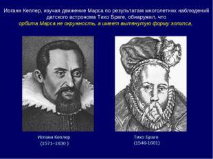 Иоганн Кеплер (1571–1630 ) Тихо Браге (1546-1601) Иоганн Кеплер, изучая движ