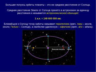 Большая полуось орбиты планеты – это ее среднее расстояние от Солнца. Среднее