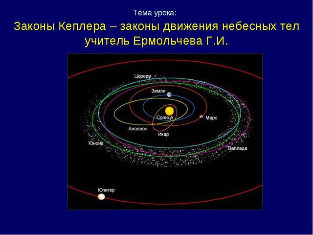 Тема урока: Законы Кеплера – законы движения небесных тел учитель Ермольчева...