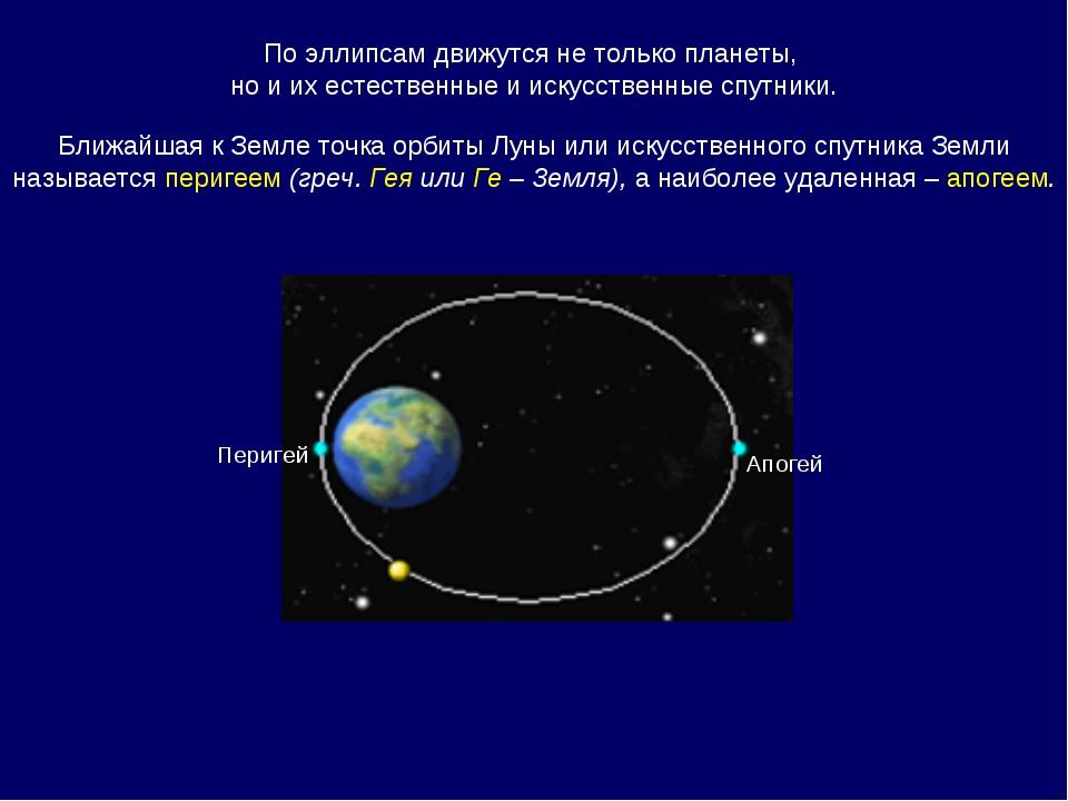 По эллипсам движутся не только планеты, но и их естественные и искусственные...