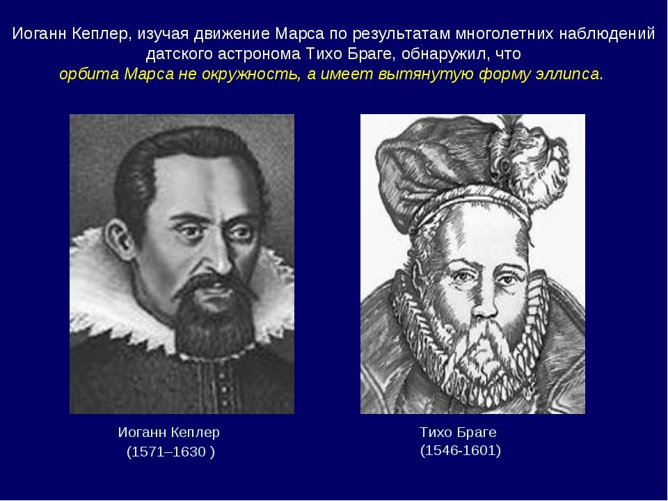 Иоганн Кеплер (1571–1630 ) Тихо Браге (1546-1601) Иоганн Кеплер, изучая движ...