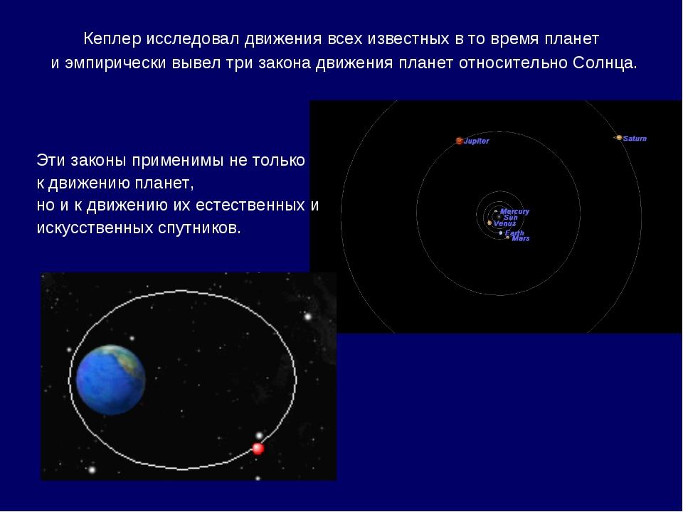 Кеплер исследовал движения всех известных в то время планет и эмпирически выв...