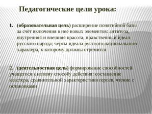 Педагогические цели урока: (образовательная цель) расширение понятийной базы
