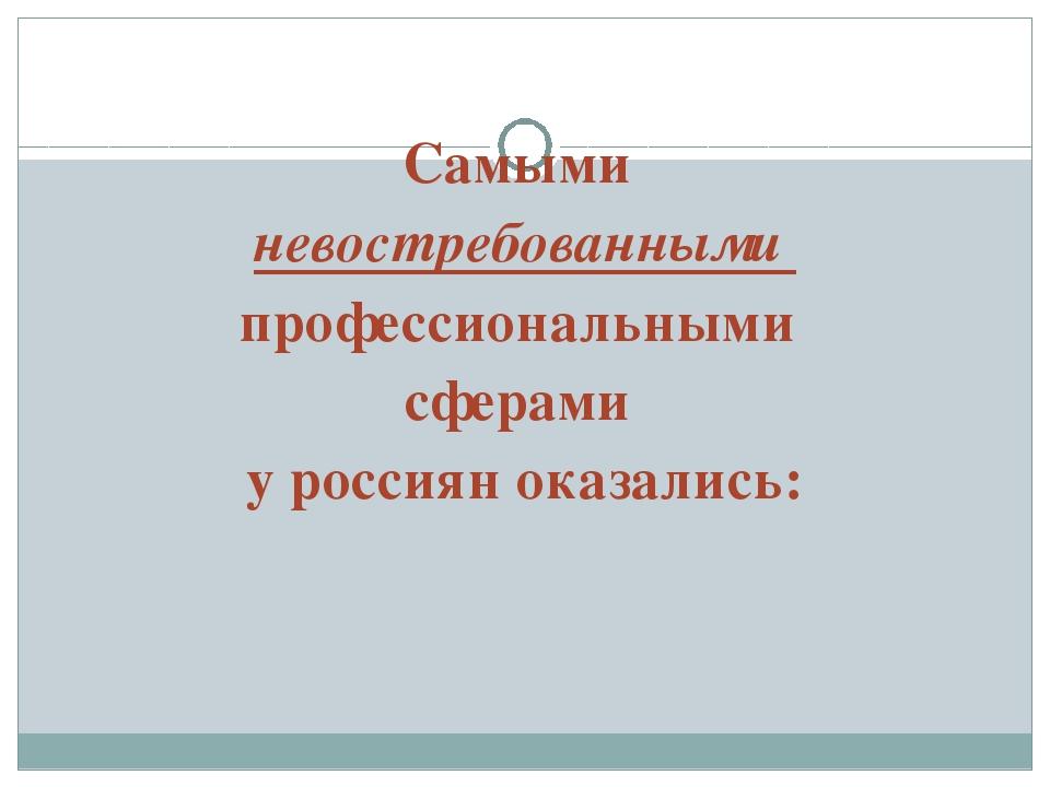 Самыми невостребованными профессиональными сферами у россиян оказались: