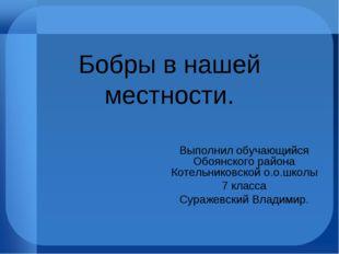 Бобры в нашей местности. Выполнил обучающийся Обоянского района Котельниковск