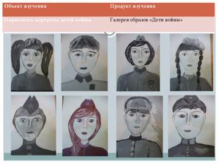 Объект изучения Продукт изучения Нарисовать портреты детей войны Галерея обр