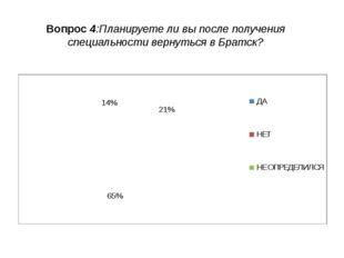 Вопрос 4:Планируете ли вы после получения специальности вернуться в Братск? Н