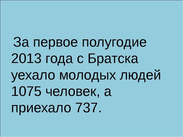 За первое полугодие 2013 года с Братска уехало молодых людей 1075 человек, а...