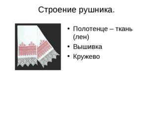 Строение рушника. Полотенце – ткань (лен) Вышивка Кружево