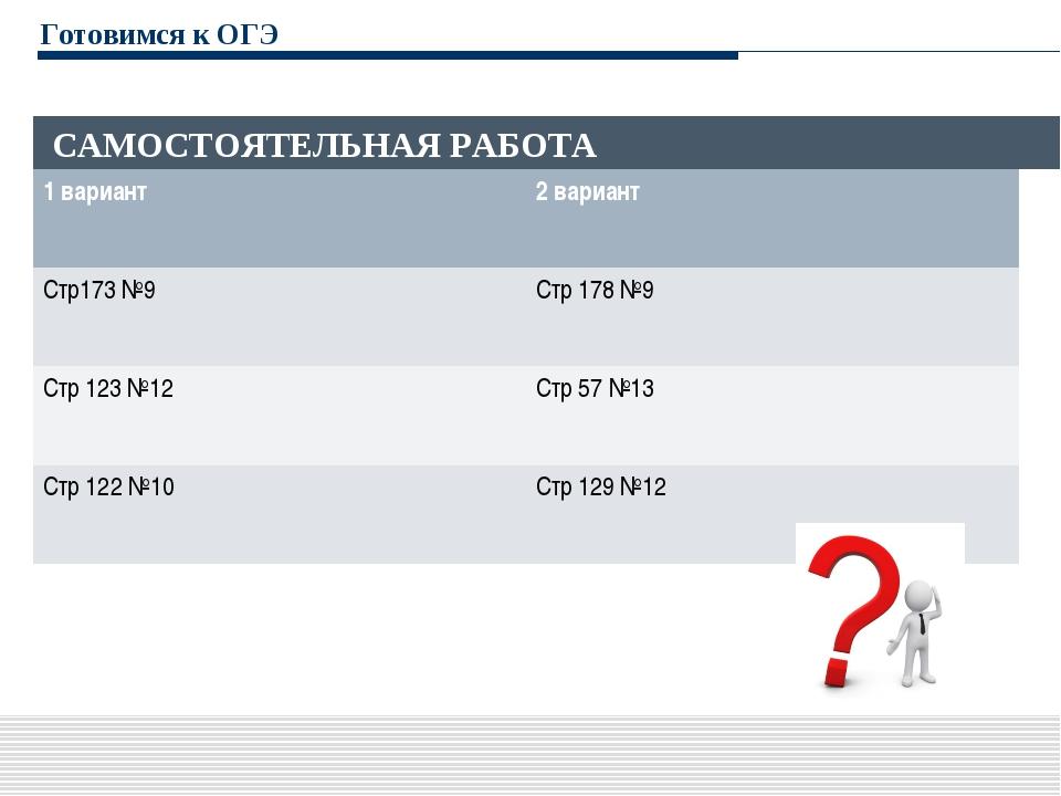 Готовимся к ОГЭ САМОСТОЯТЕЛЬНАЯ РАБОТА 1 вариант2 вариант Стр173 №9Стр 178...