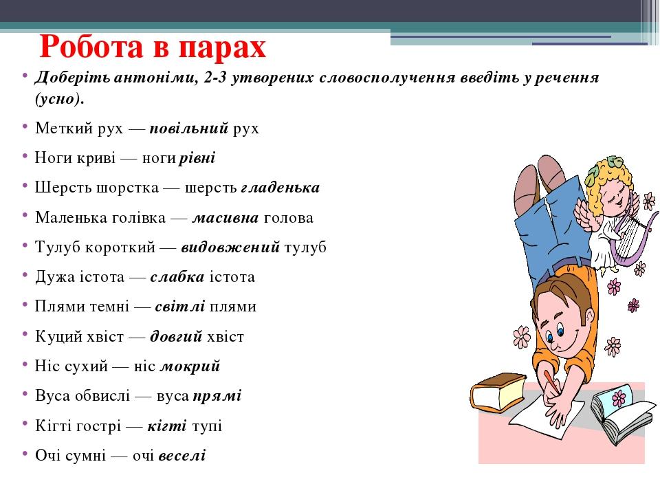 Робота в парах Доберіть антоніми, 2-3 утворених словосполучення введіть у реч...