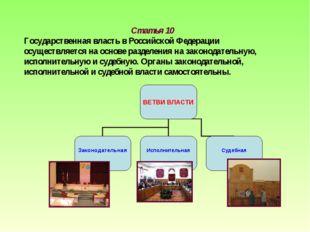 Статья 10 Государственная власть в Российской Федерации осуществляется на осн