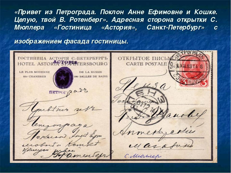 «Привет из Петрограда. Поклон Анне Ефимовне и Кошке. Целую, твой В. Ротенберг...