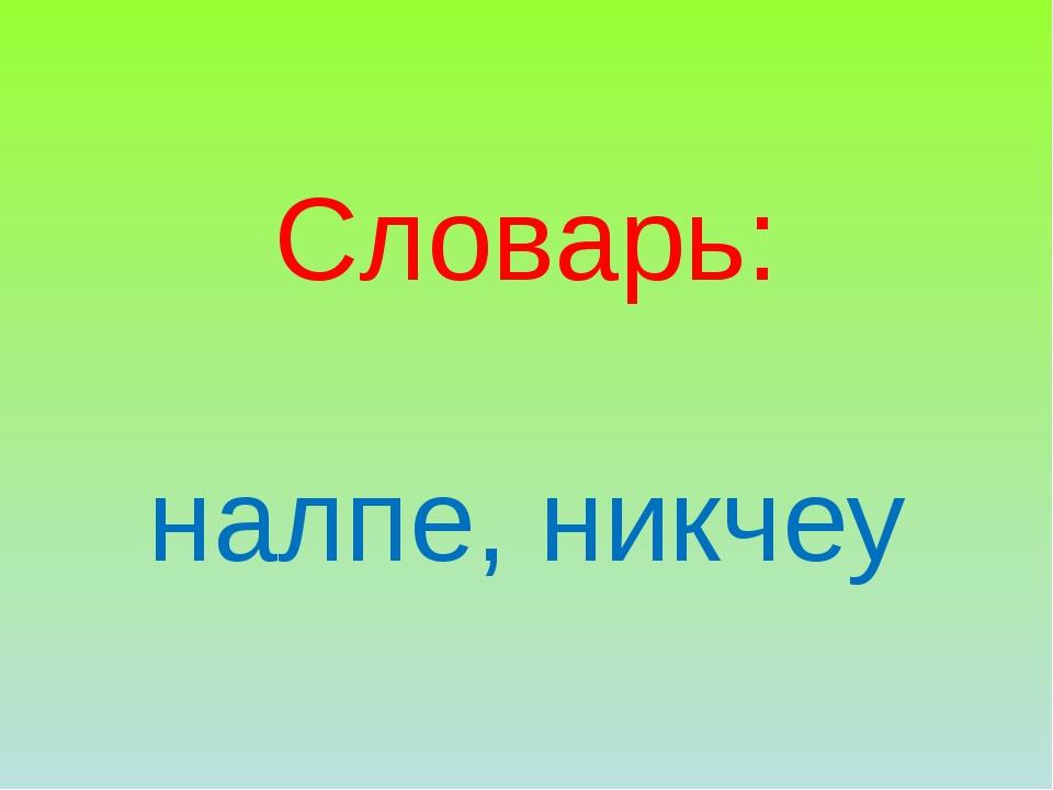 Словарь: налпе, никчеу