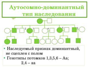Аутосомно-доминантный тип наследования Наследуемый признак доминантный, н