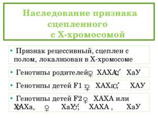 Наследование признака сцепленного  с Х-хромосомой Признак рецессивный, сц