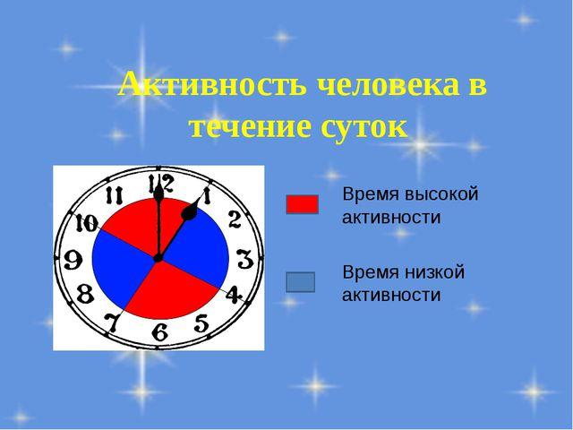 Активность человека в течение суток Время высокой активности Время низкой акт...