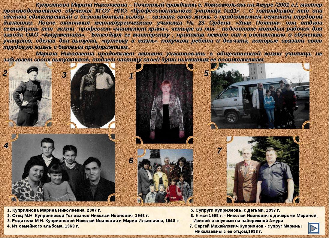 1 3 2 4 5 7 6 1. Куприянова Марина Николаевна, 2007 г.  5. Супруги Куприян...