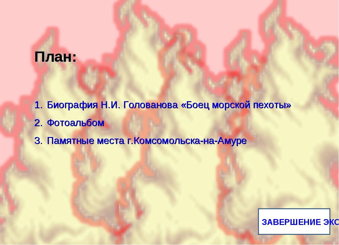 ЗАВЕРШЕНИЕ ЭКСКУРСИИ План: Биография Н.И. Голованова «Боец морской пехоты» Фо...