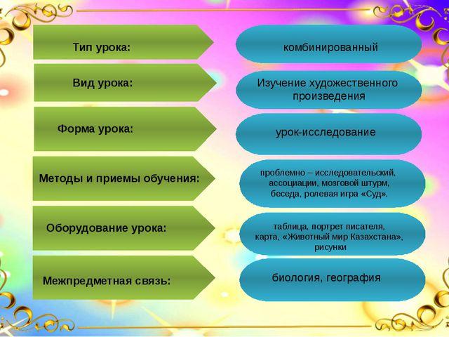 Тип урока: комбинированный Вид урока: Изучение художественного произведения...