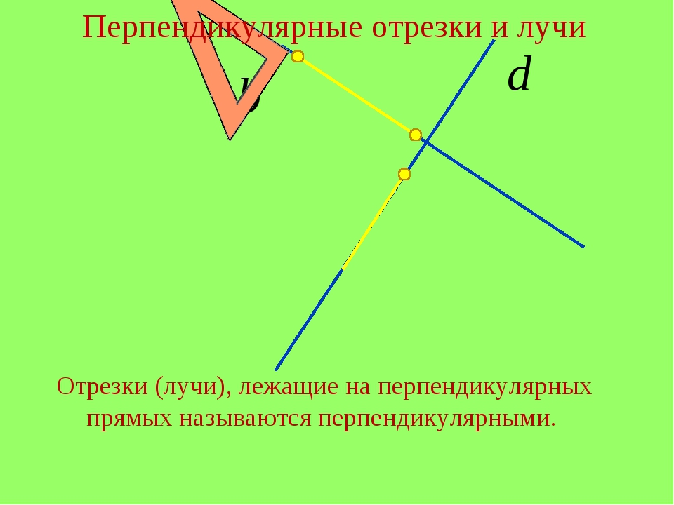 Перпендикулярные отрезки и лучи Отрезки (лучи), лежащие на перпендикулярных п...
