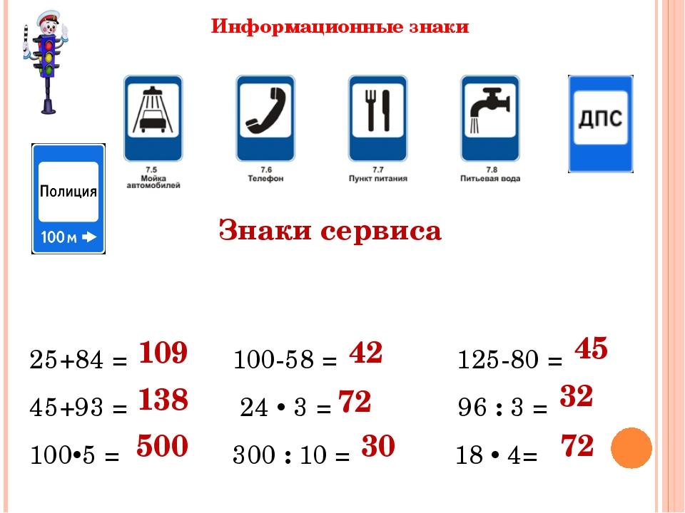 Знаки сервиса 25+84 = 100-58 = 125-80 = 45+93 = 24  3 = 96 : 3 = 1005 = 300...