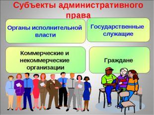 Субъекты административного права Органы исполнительной власти Государственные