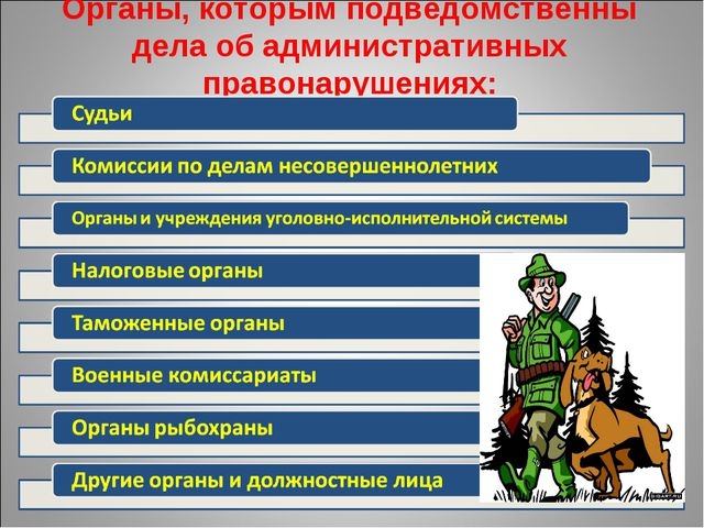 Органы, которым подведомственны дела об административных правонарушениях: