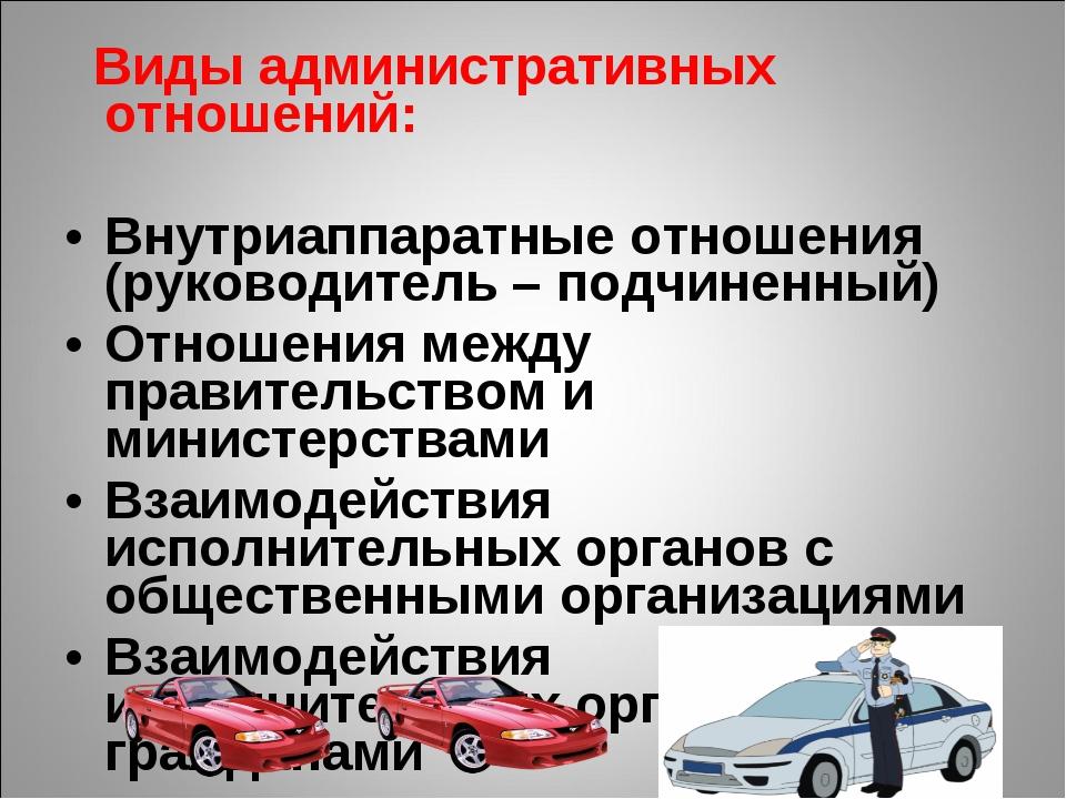 Виды административных отношений: Внутриаппаратные отношения (руководитель –...