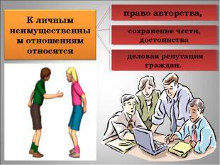 право авторства, сохранение чести, достоинства деловая репутация граждан.