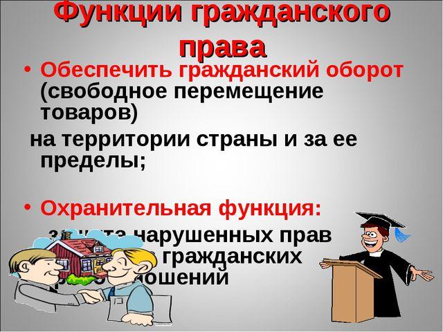 Функции гражданского права Обеспечить гражданский оборот (свободное перемещен...