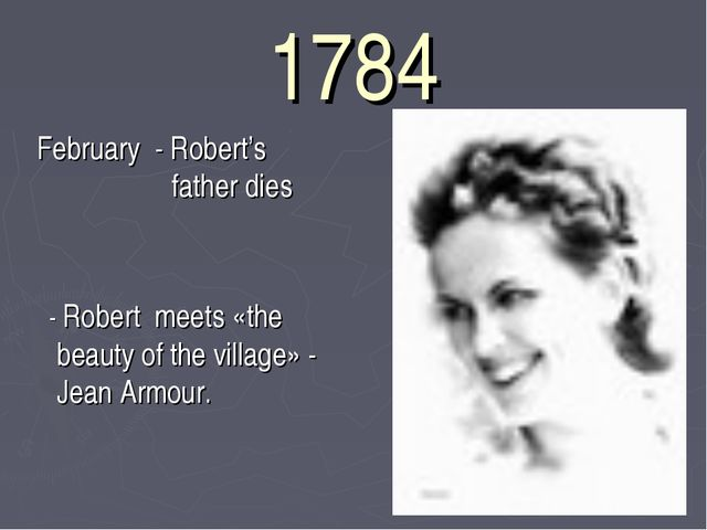 1784 February - Robert's father dies - Robert meets «the beauty of the villag...
