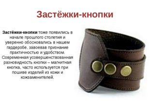 Застёжки-кнопки Застёжки-кнопкитоже появились в начале прошлого столетия и у