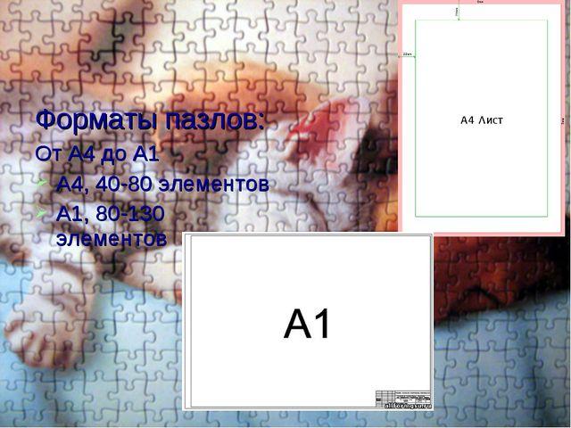 Форматы пазлов: От А4 до А1 А4, 40-80 элементов А1, 80-130 элементов