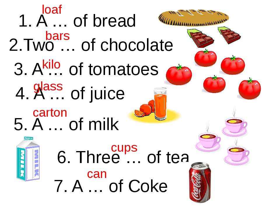 1. A … of bread 2.Two … of chocolate 3. A … of tomatoes 4. A … of juice 5. A...