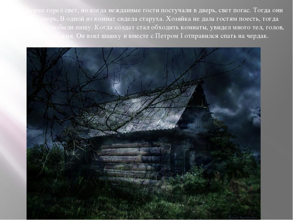 В избушке горел свет, но когда нежданные гости постучали в дверь, свет погас....