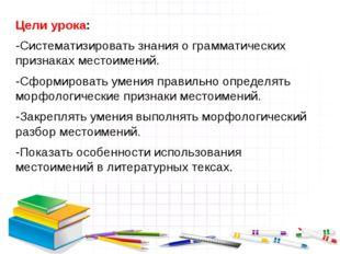 Цели урока: -Систематизировать знания о грамматических признаках местоимений.