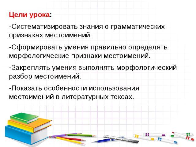 Цели урока: -Систематизировать знания о грамматических признаках местоимений....