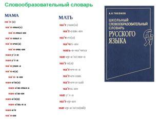 Словообразовательный словарь МАМА ма'м (а) ма'м-еньк(а) ма'м-еньк-ин ма'м-онь