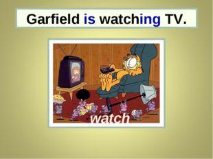 Garfield Garfield is watching TV. watch