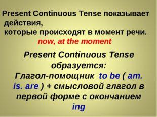 Present Continuous Tense показывает действия, которые происходят в момент реч