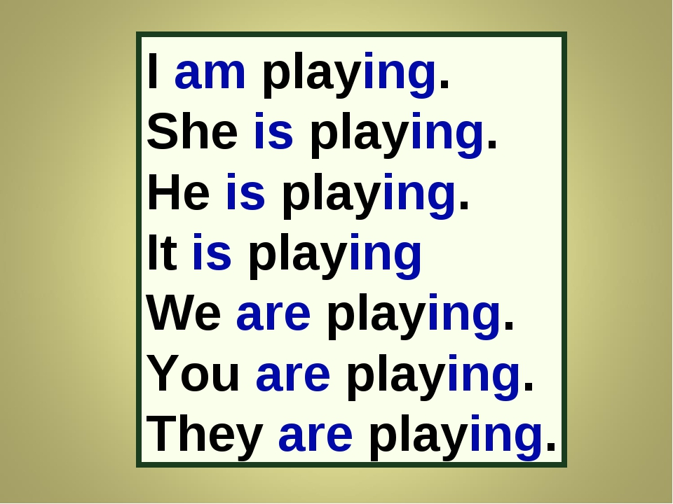 I am playing. She is playing. He is playing. It is playing We are playing. Yo...
