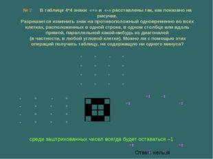 № 2 В таблице 4*4 знаки «+» и «-» расставлены так, как показано на рисунке. Р