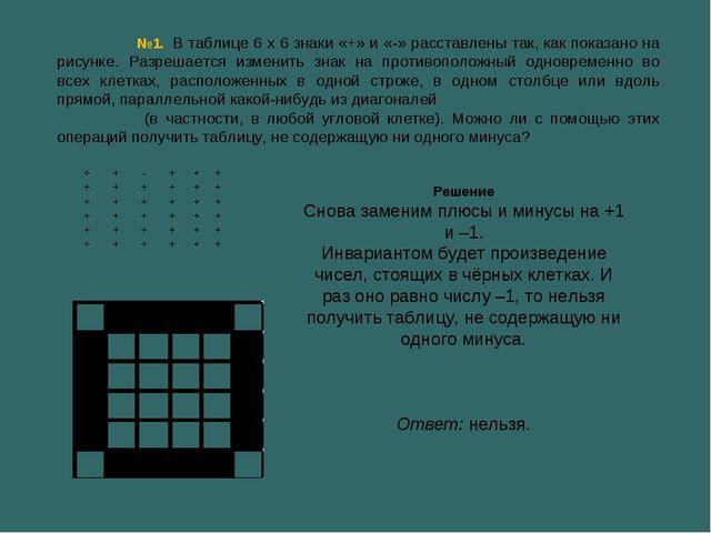 №1. В таблице 6 х 6 знаки «+» и «-» расставлены так, как показано на рисунке....