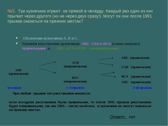 Обозначим кузнечиков А, В и С. Назовём расстановки кузнечиков АВС, САВ и ВСА...