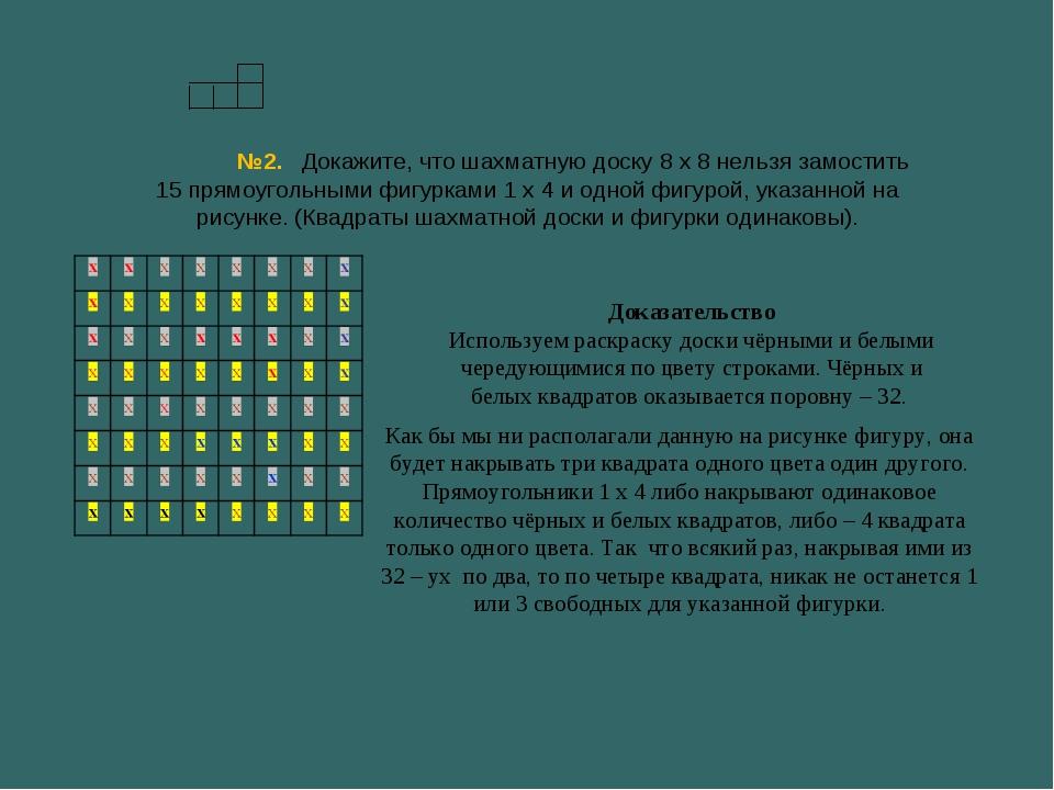 №2. Докажите, что шахматную доску 8 х 8 нельзя замостить 15 прямоугольными фи...