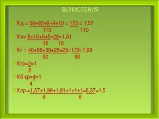 ВЫЧИСЛЕНИЯ Кд = 58+92+9+4+10 = 173 = 1,57 110 110 Кя= 8+10+6+5=29=1,81