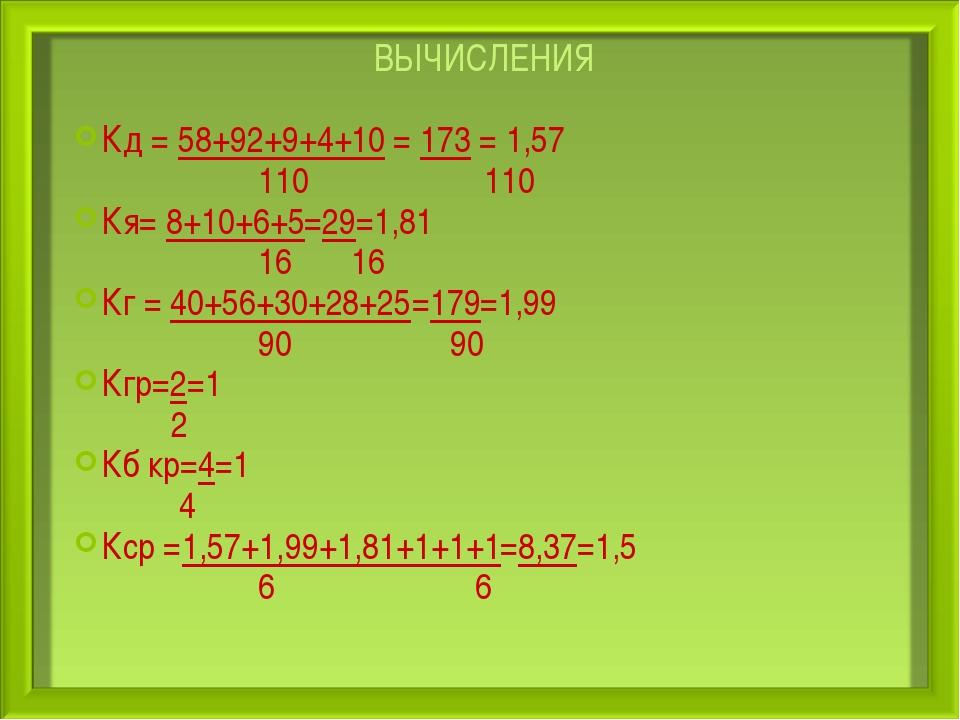 ВЫЧИСЛЕНИЯ Кд = 58+92+9+4+10 = 173 = 1,57 110 110 Кя= 8+10+6+5=29=1,81...